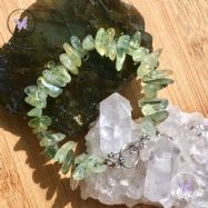 Prehnite Chip Bracelet With Silver Toggle Clasp